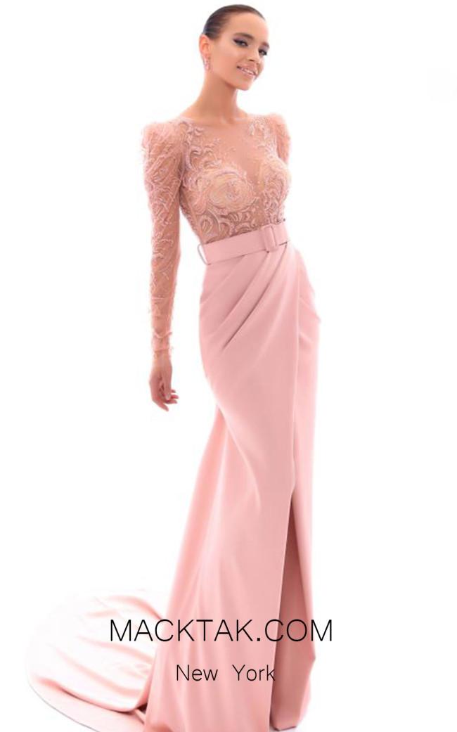 Tarik Ediz 93412 Dusty Rose Front Evening Dress