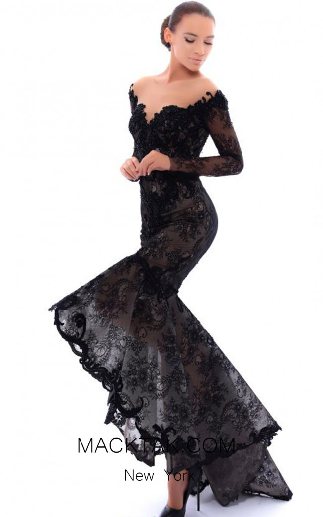 Tarik Ediz 93432 Black Front Evening Dress