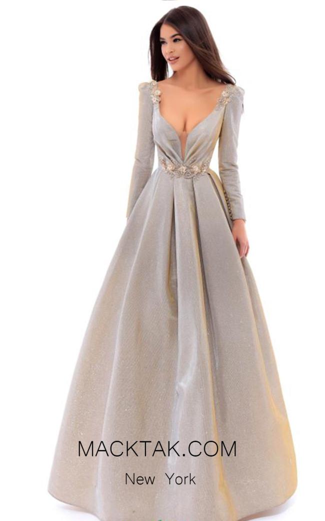 Tarik Ediz 93433 Gold Front Evening Dress