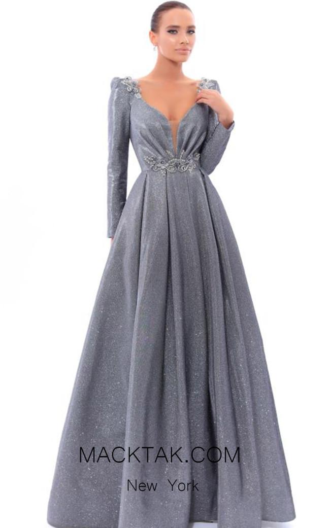 Tarik Ediz 93433 Gunmetal Front Evening Dress