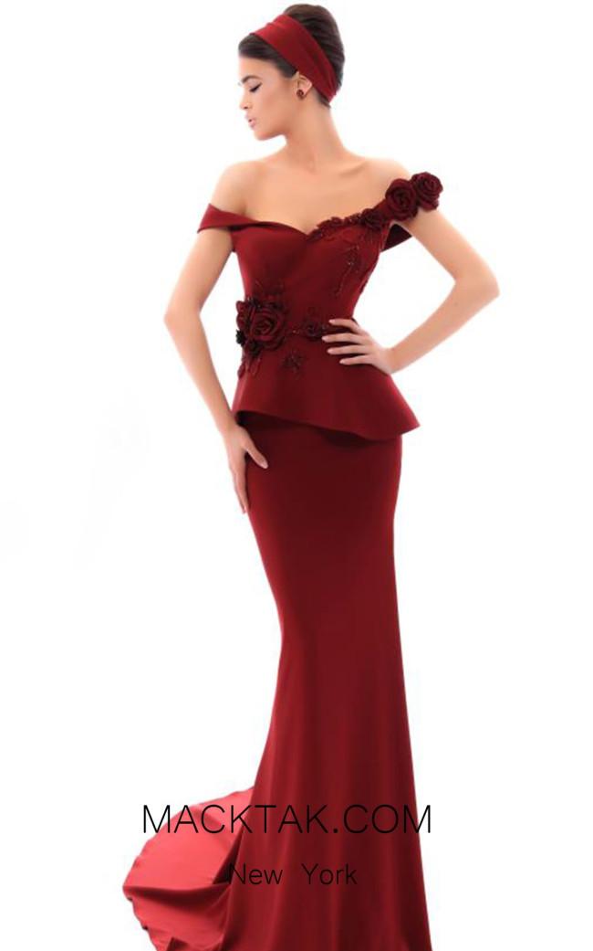 Tarik Ediz 93436 Bordo Front Evening Dress