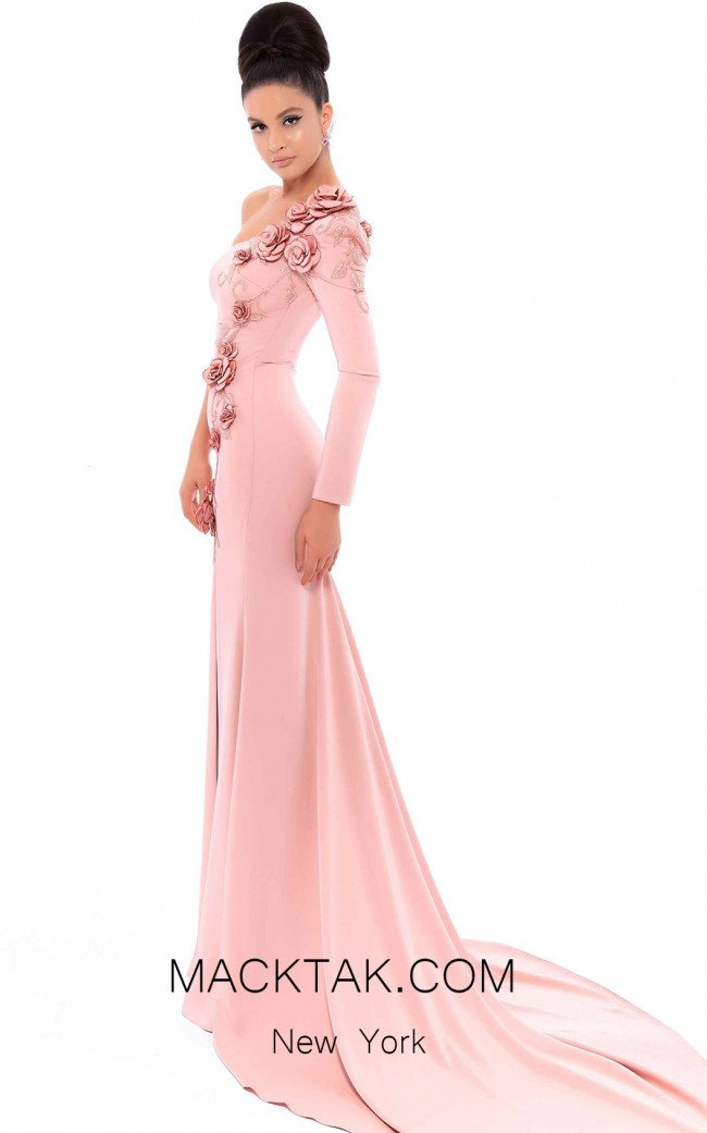 Tarik Ediz 93451 Dusty Rose Front Evening Dress