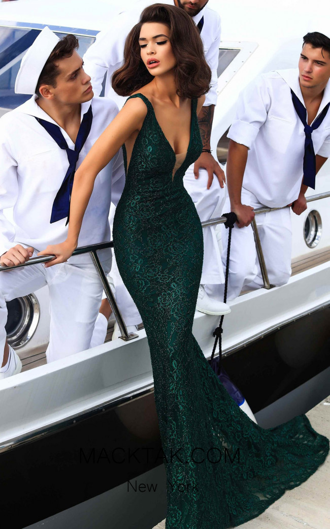 Tarik Ediz 93455 Emerald Evening Dress