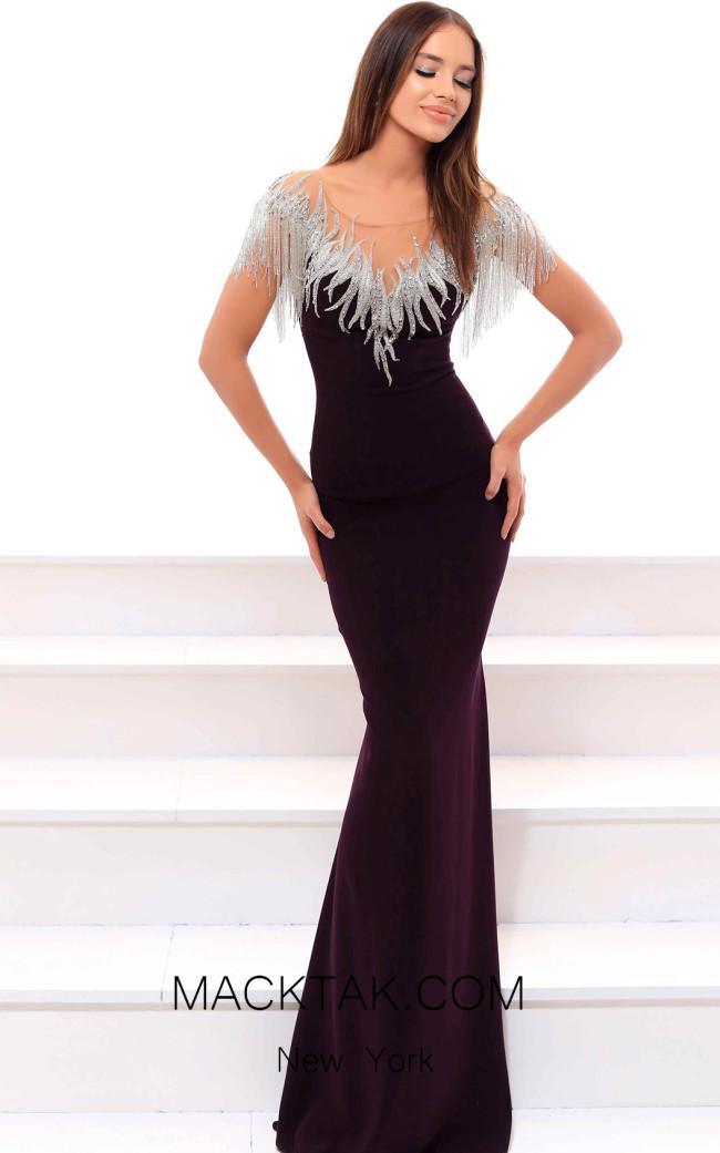 Tarik Ediz 93464 Plum Front Evening Dress