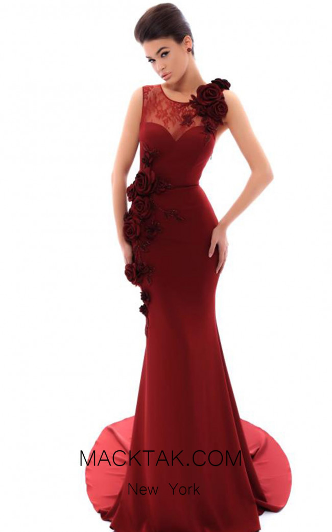Tarik Ediz 93478 Bordo Front Evening Dress