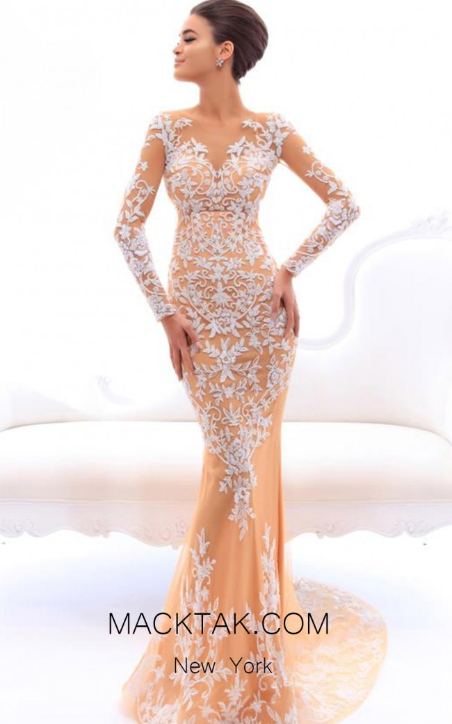 Tarik Ediz 93495 Ivory Front Evening Dress