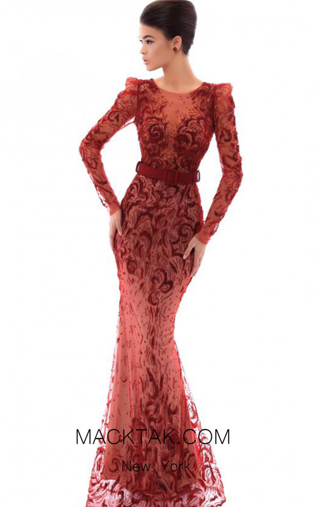 Tarik Ediz 93496 Wine Front Evening Dress