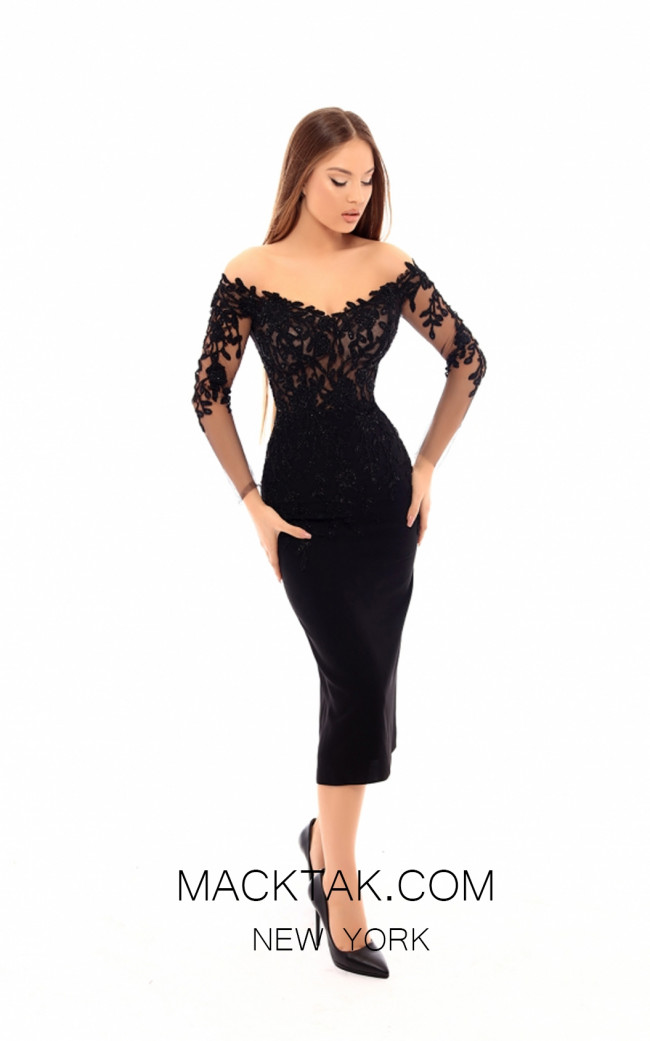 Tarik Ediz 93615 Black Front Evening Dress