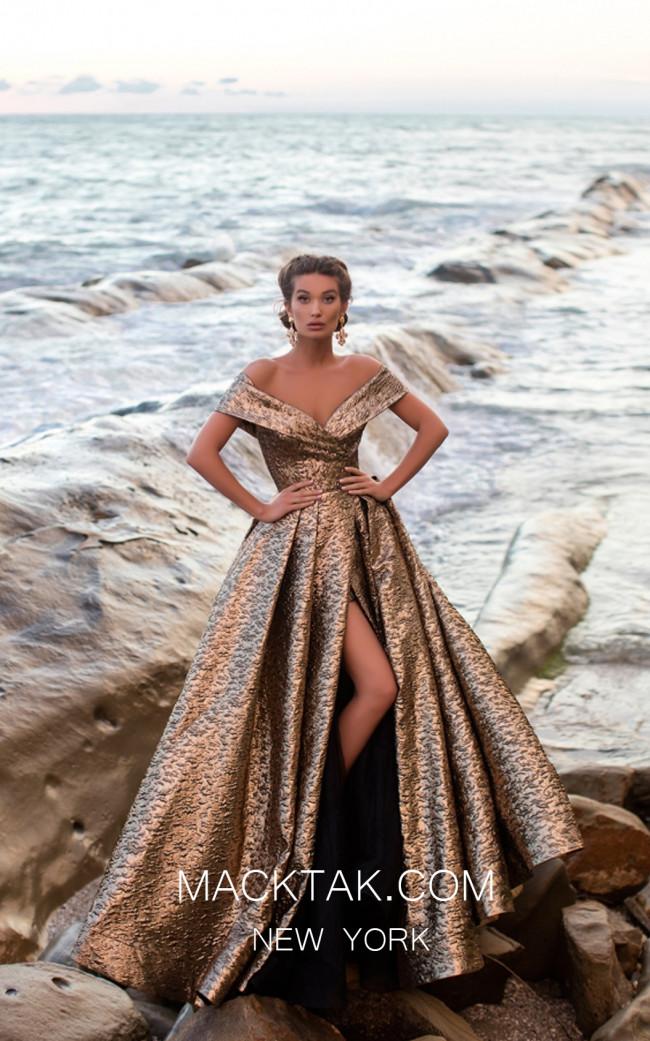 Tarik Ediz 93621 Gold Front Evening Dress