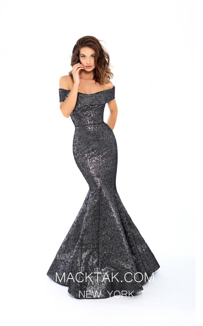 Tarik Ediz 93622 Navy Front Evening Dress