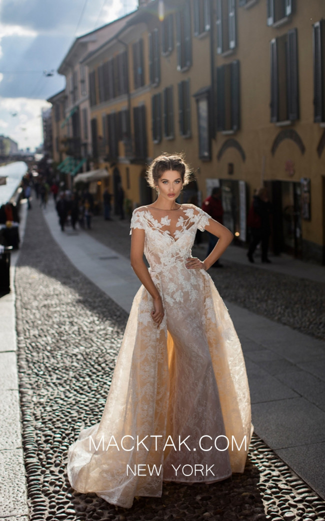 Tarik Ediz 93627 Ivory Front Evening Dress