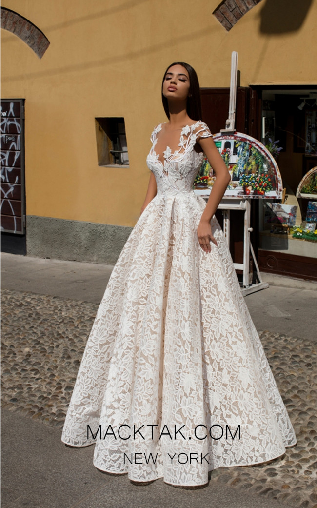 Tarik Ediz 93637 Ivory Front Evening Dress