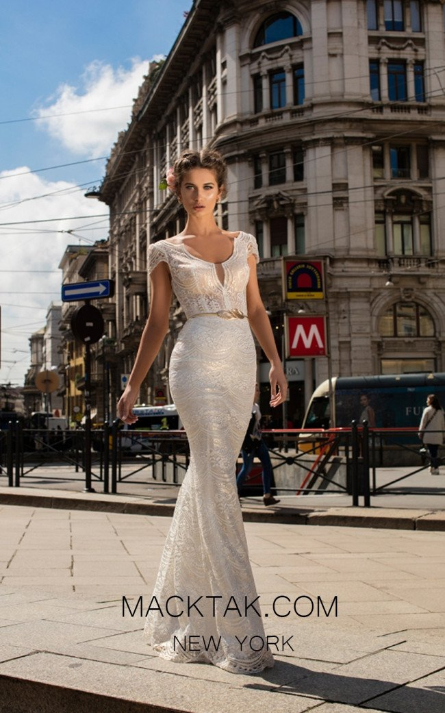 Tarik Ediz 93638 Ivory Front Evening Dress