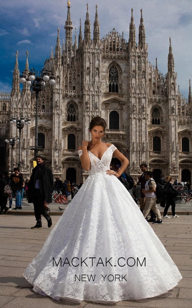 Tarik Ediz 93649 Ivory Front Evening Dress