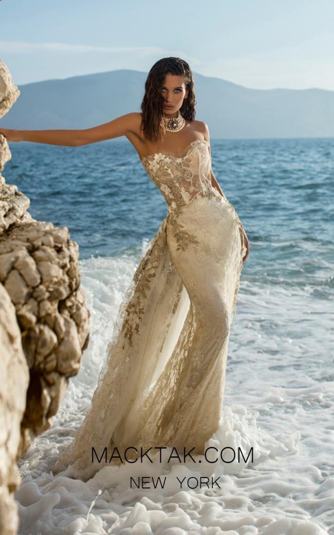 Tarik Ediz 93659 Ivory Front Evening Dress
