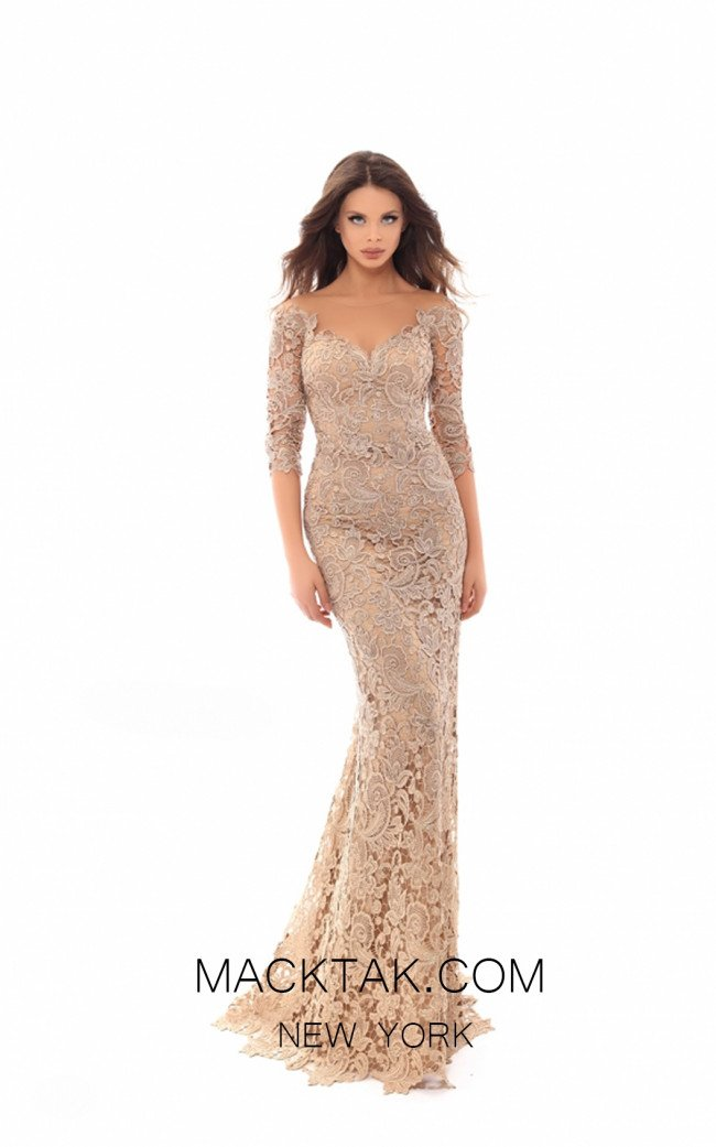 Tarik Ediz 93675 Gold Front Evening Dress