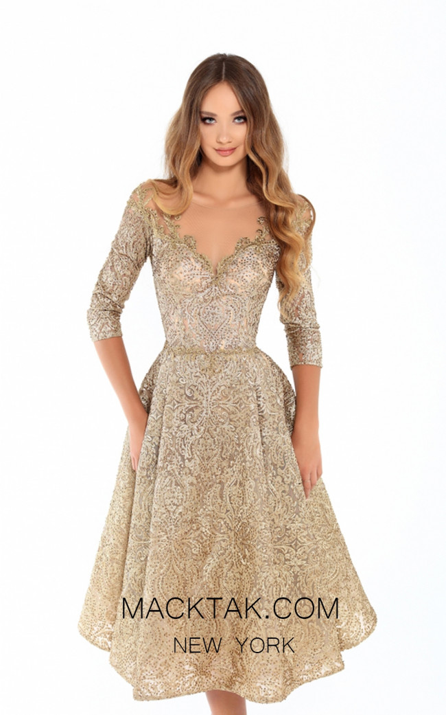 Tarik Ediz 93684 Gold Front Evening Dress