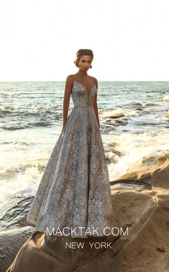 Tarik Ediz 93688 Silver Front Evening Dress
