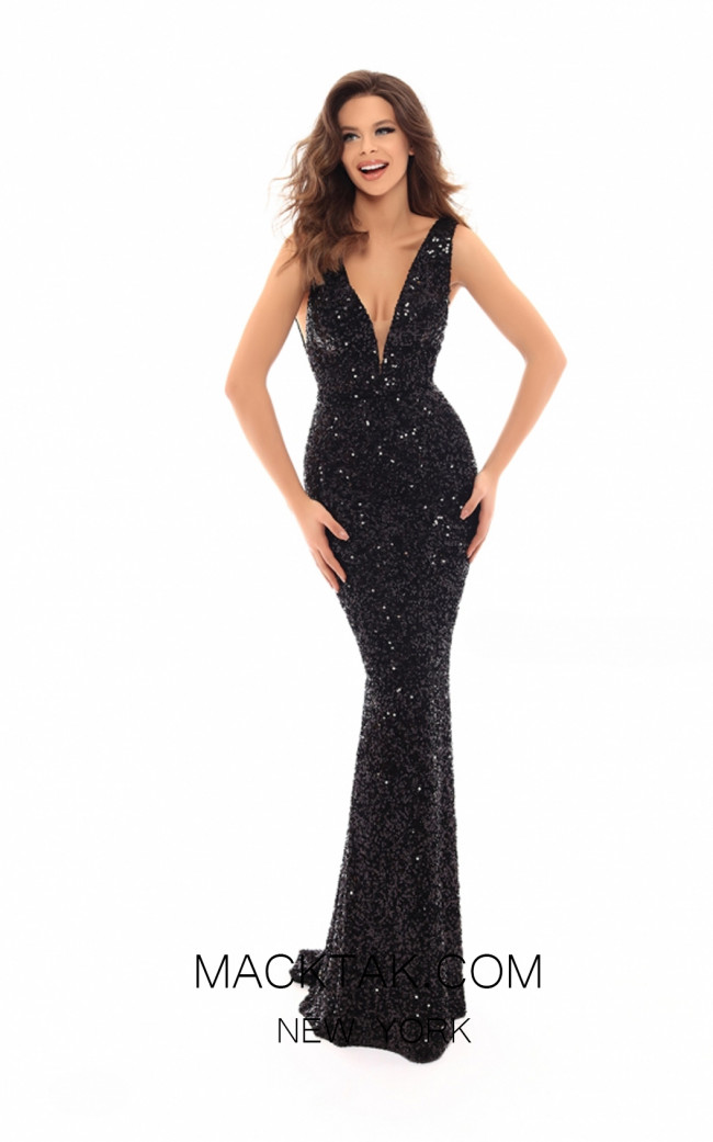 Tarik Ediz 93700 Black Front Evening Dress