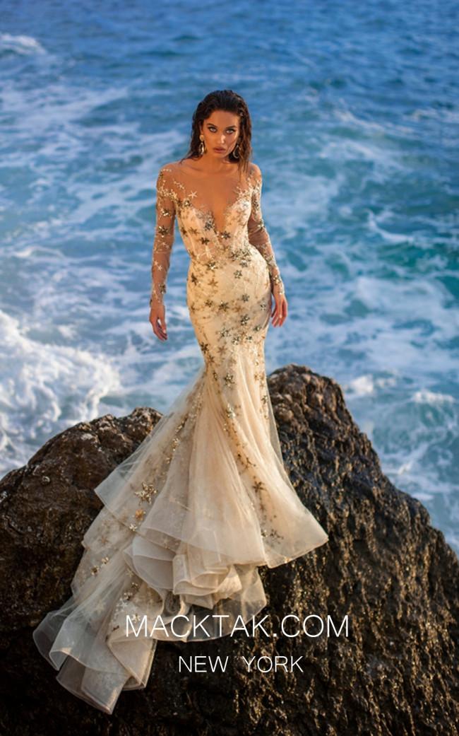 Tarik Ediz 93702 Ivory Gold Front Evening Dress