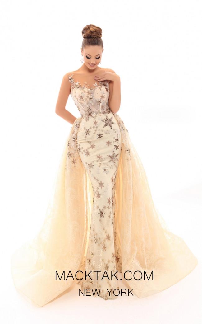 Tarik Ediz 93703 Ivory Gold Front Evening Dress