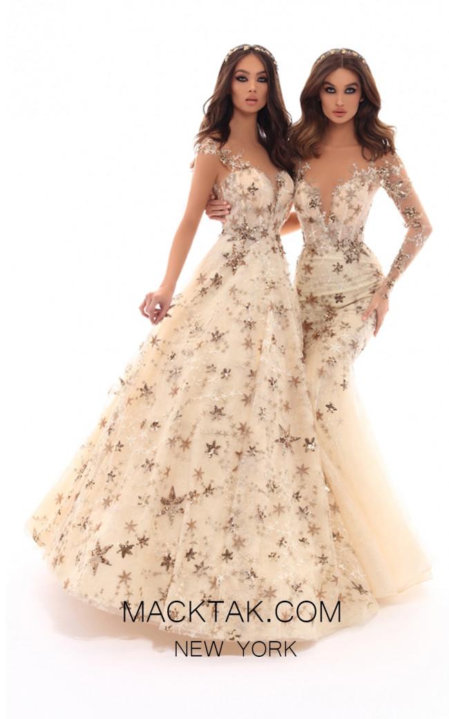Tarik Ediz 93704 Ivory Gold Front Evening Dress