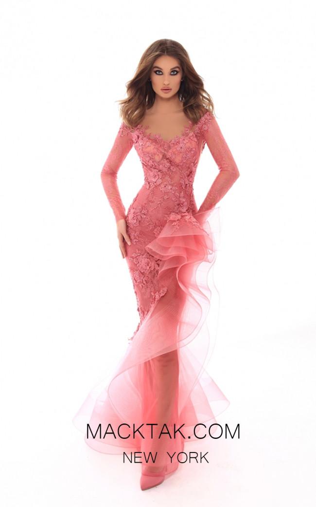 Tarik Ediz 93716 Dark Rose Front Evening Dress