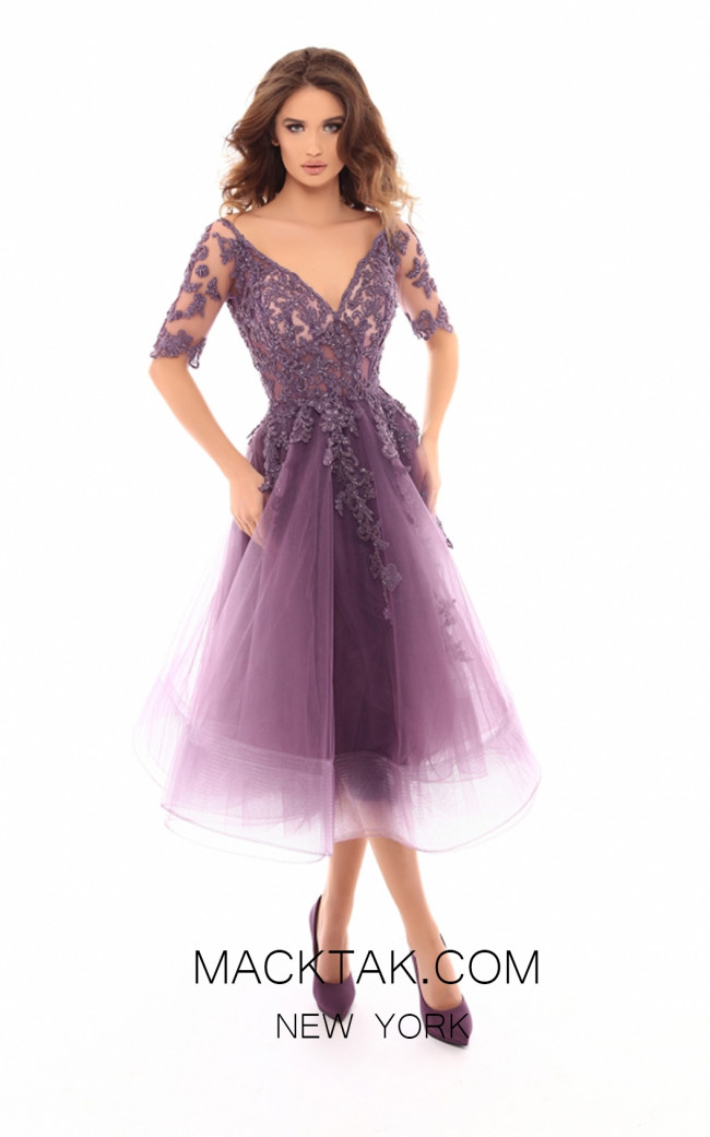 Tarik Ediz 93721 Lavender Front Evening Dress