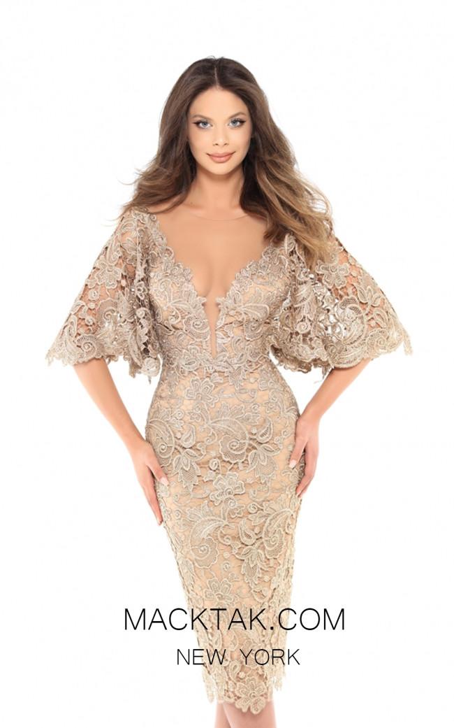 Tarik Ediz 93740 Gold Front Evening Dress