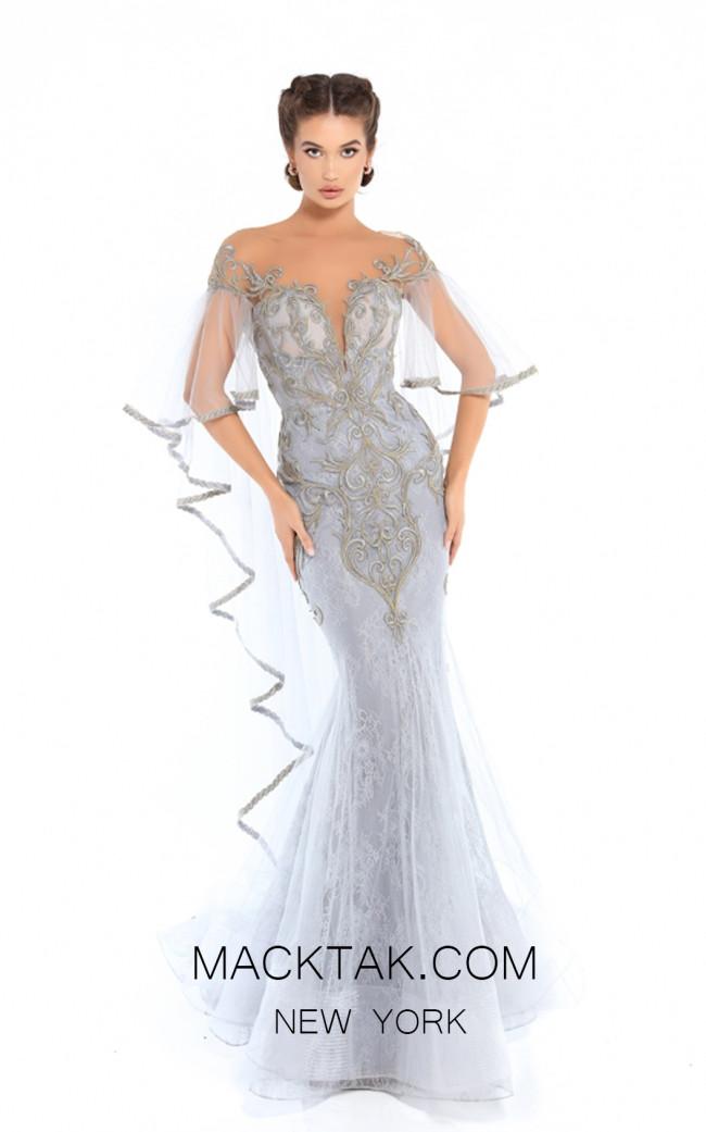 Tarik Ediz 93756 Cloudy Blue Front Evening Dress