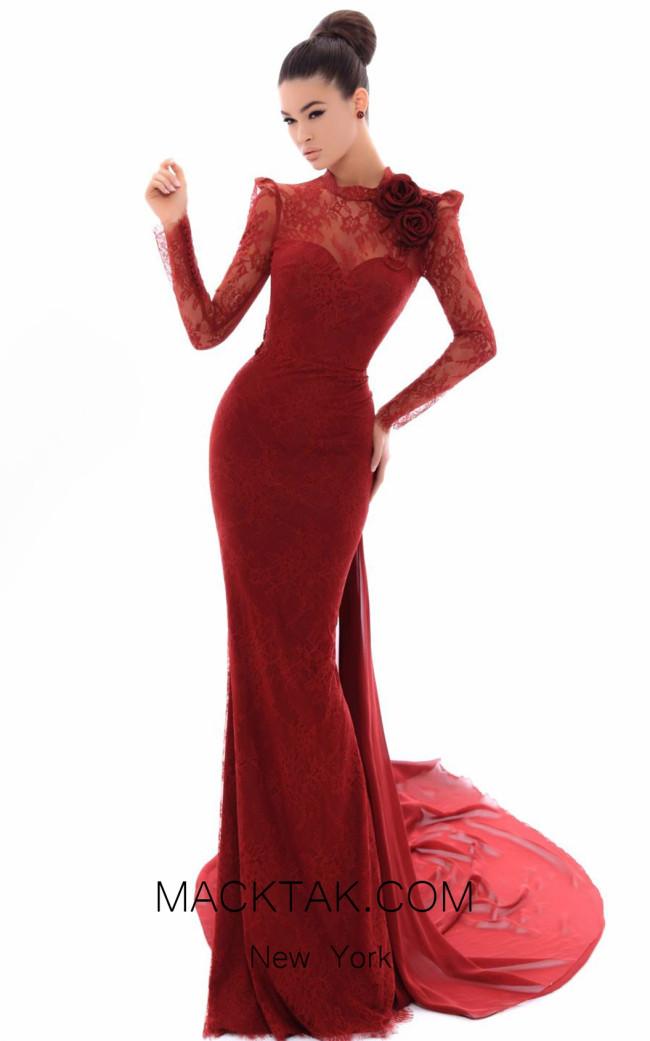 tarik Ediz 93462 Bordo Front Evening Dress
