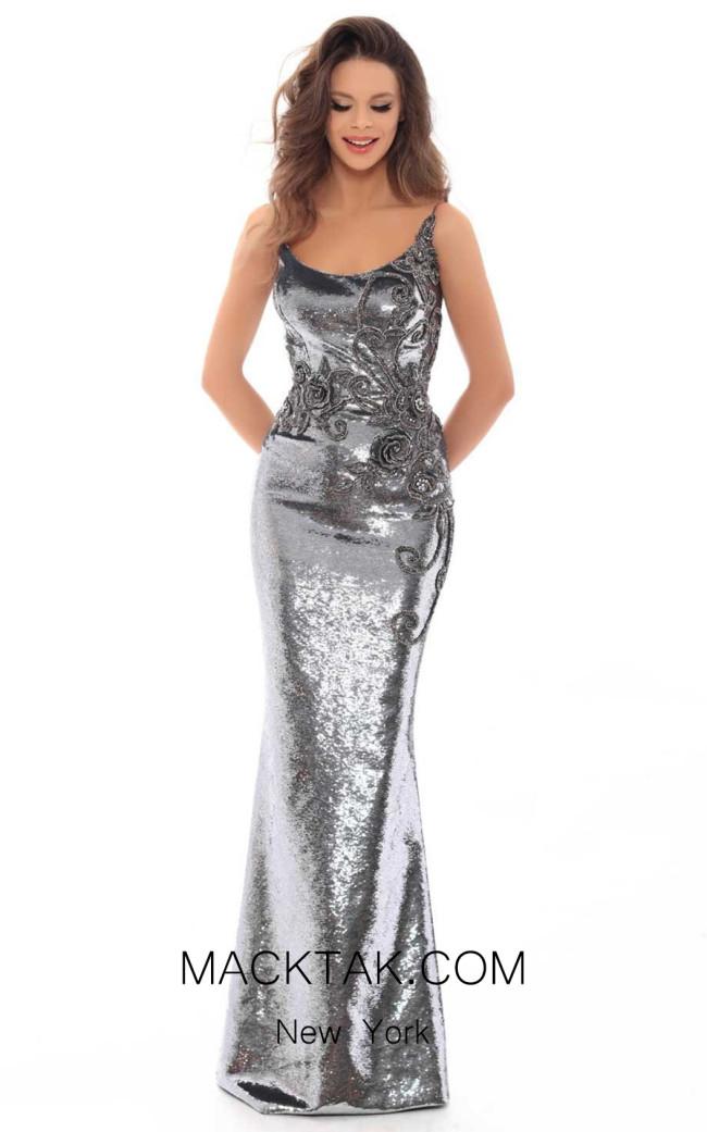 Tarik Ediz 93689 Silver Front Dress