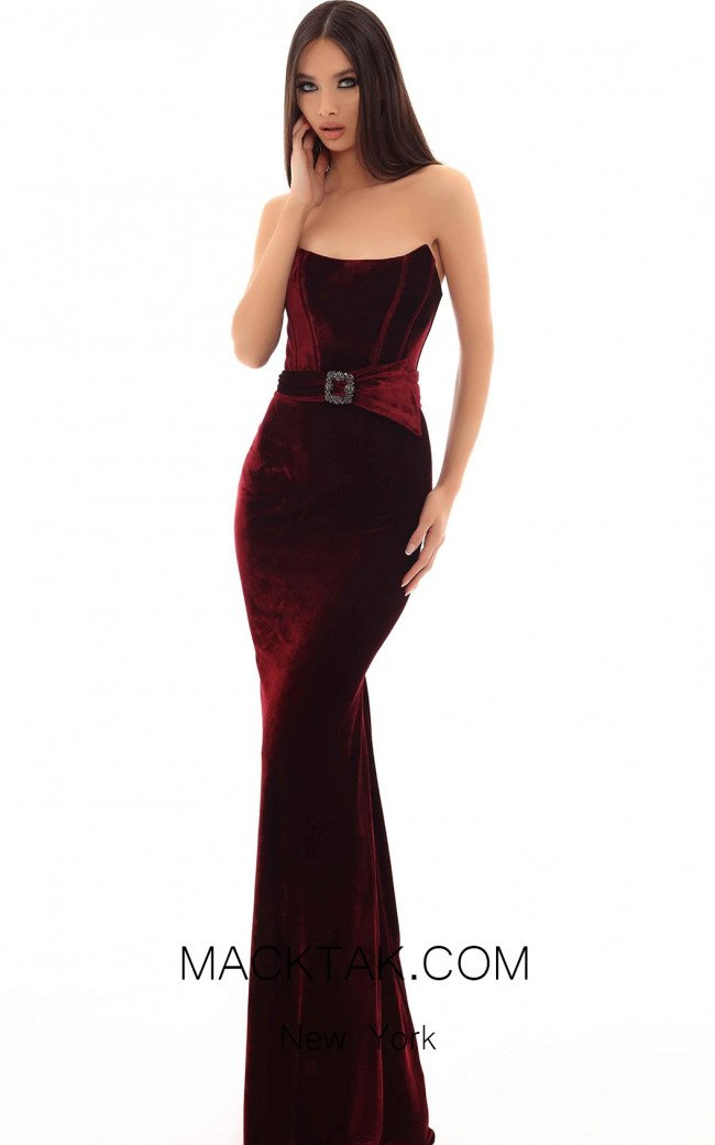 Tarik Ediz 93696 Burgundy Front Dress