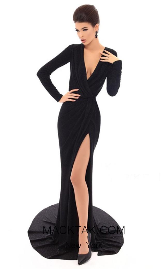 Tarik Ediz 93717 Black Front Dress