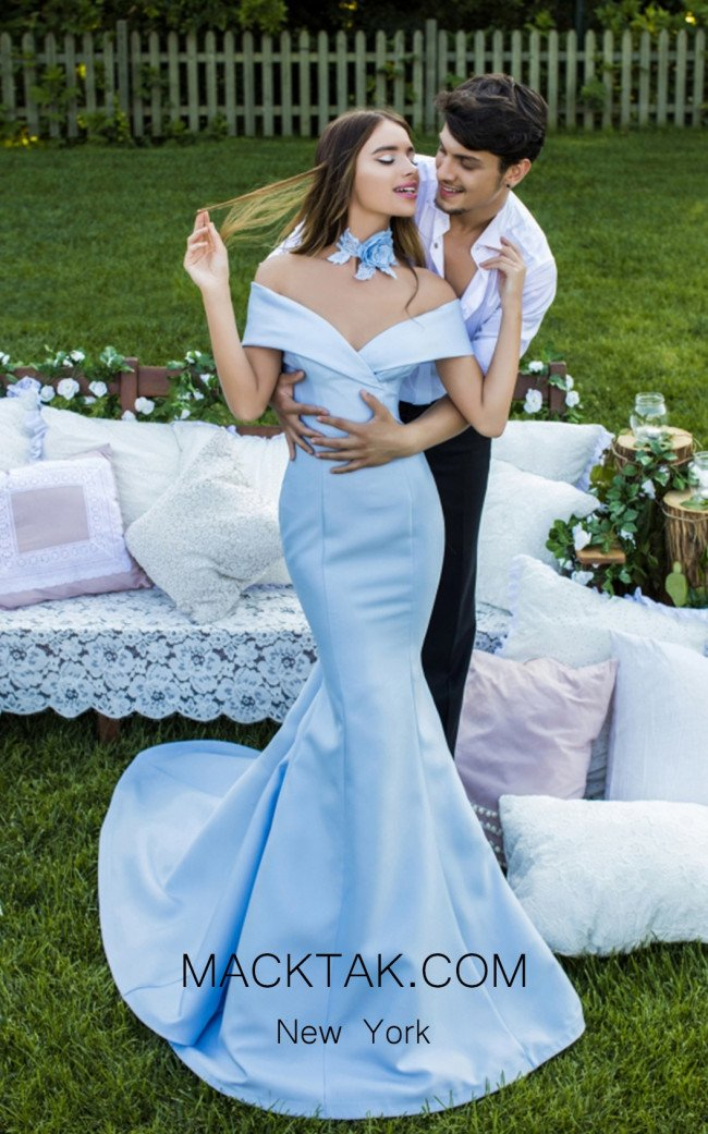 Tarik Ediz 50218 Sky Blue Dress