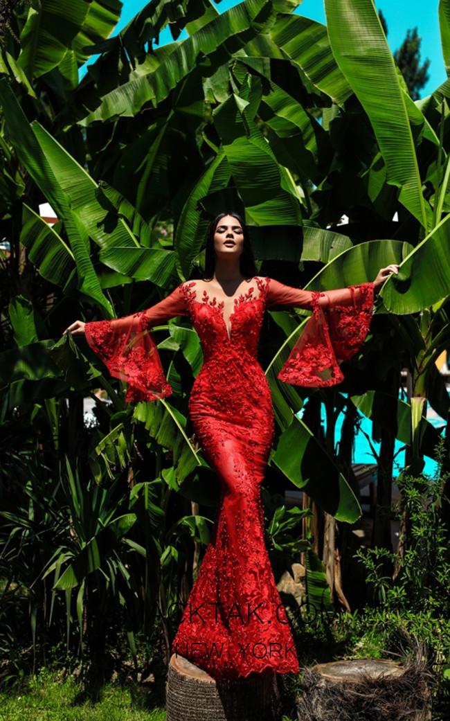 Tarik Ediz 50407 Red Front Dress
