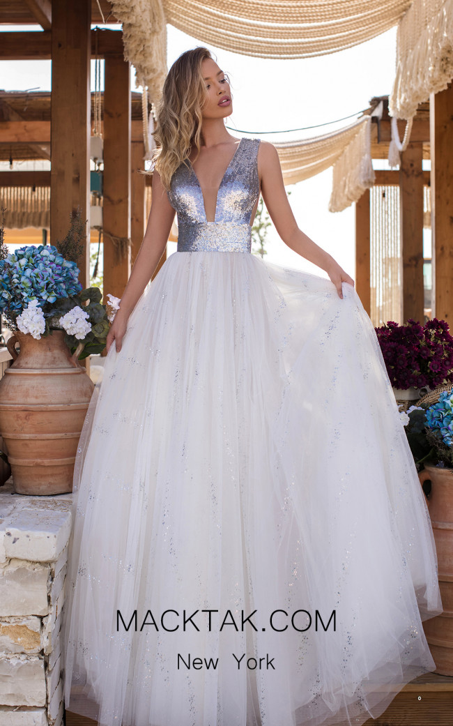 Tarik Ediz 50635 Ivory Front Dress