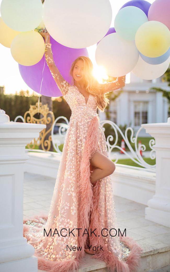 Tarik Ediz 50647 Pink Front Dress