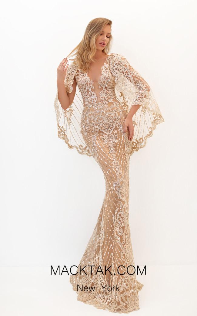Tarik Ediz 50648 Gold Front Dress