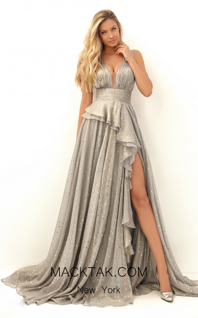 Tarik Ediz 50649 Silver Front Dress