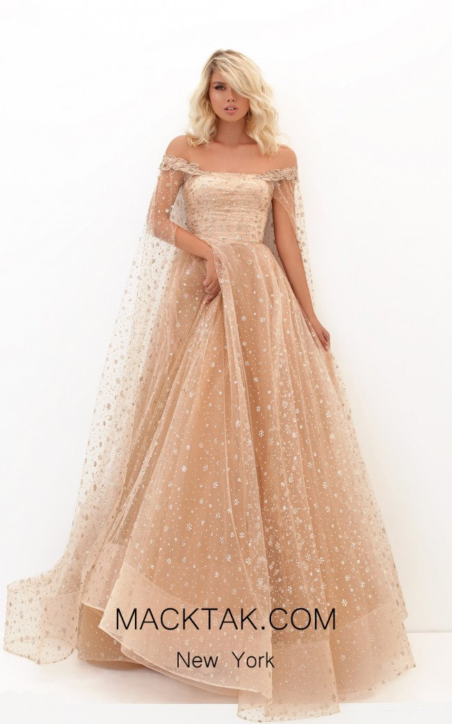 Tarik Ediz 50707 Gold Front Dress