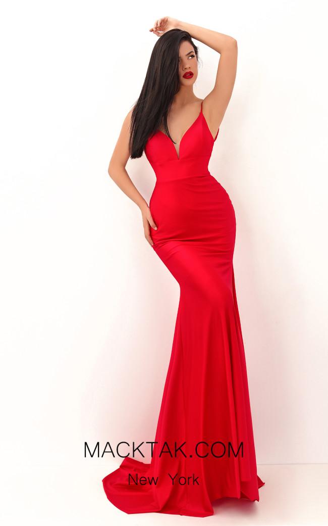 Tarik Ediz 50722 Red Front Dress