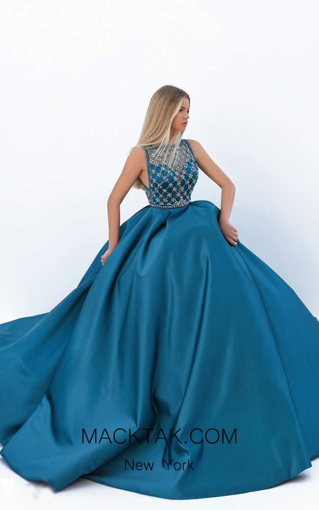 Tarik Ediz 50726 Turquoise Front Dress