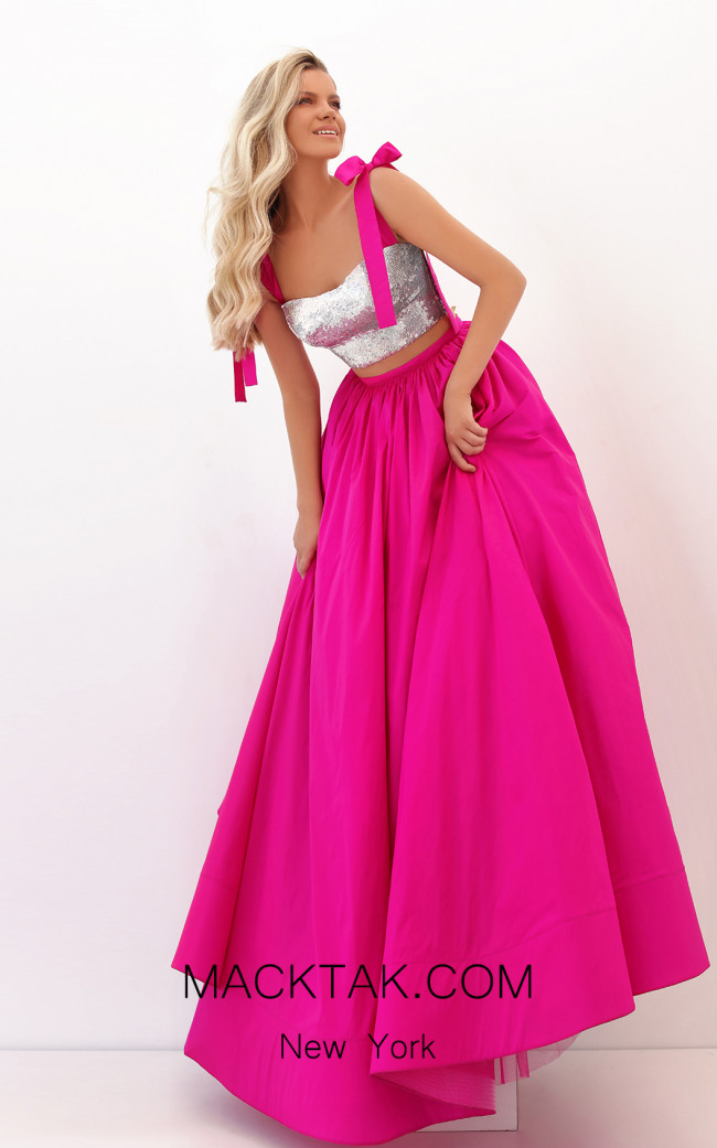 Tarik Ediz 50735 Fuchsia Front Dress