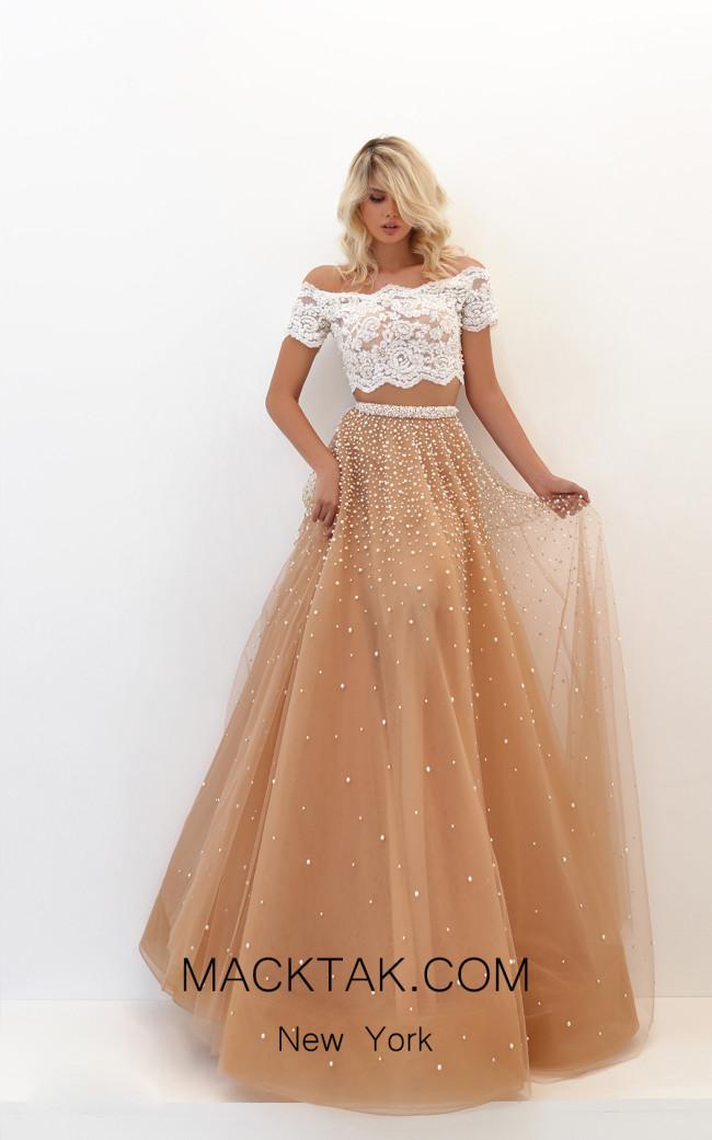 Tarik Ediz 50743 Gold Front Dress