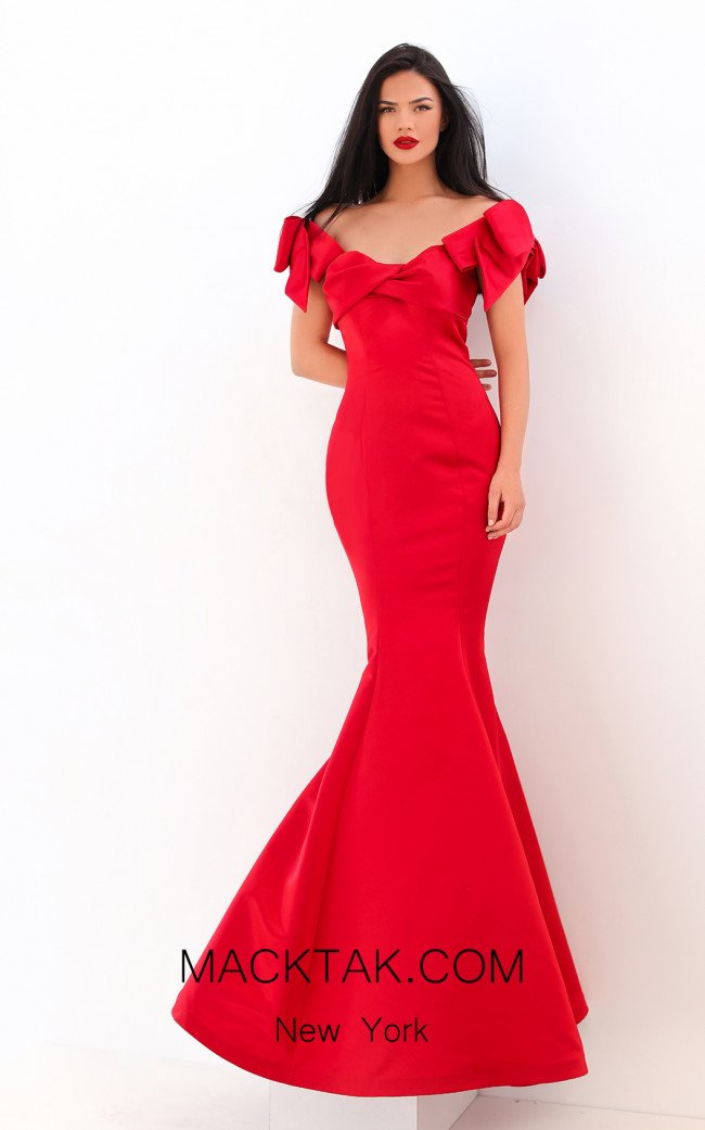 Tarik Ediz 50744 Red Front Dress