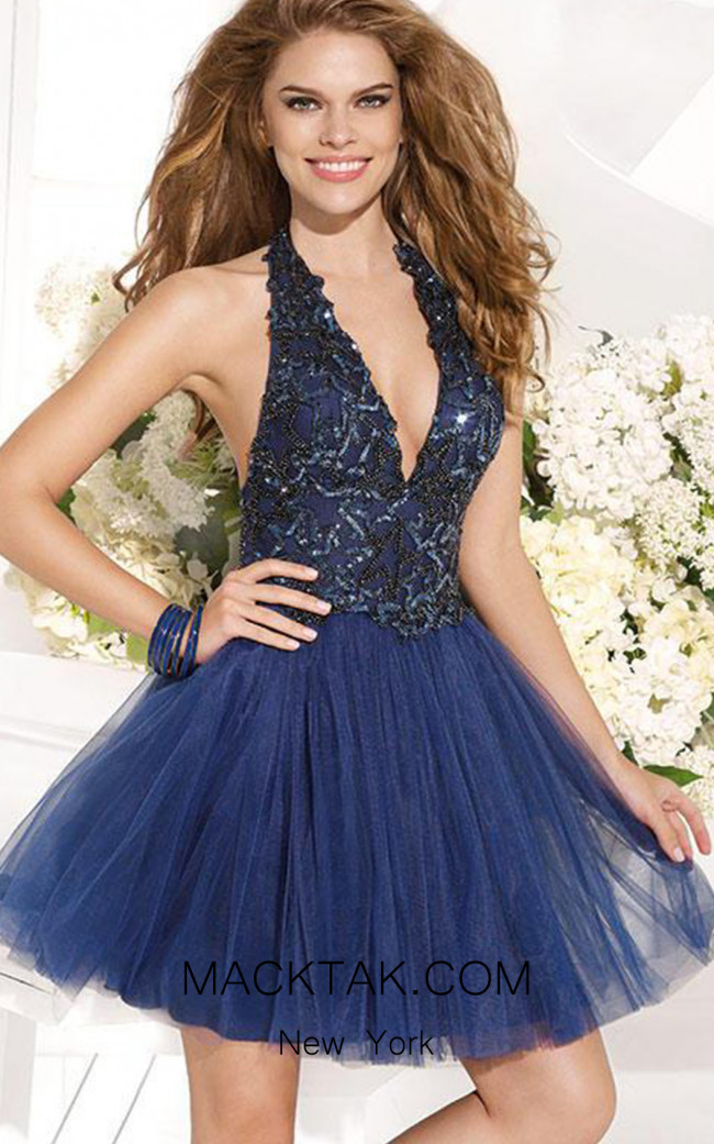 Tarik Ediz 90360 Back Navy Dress
