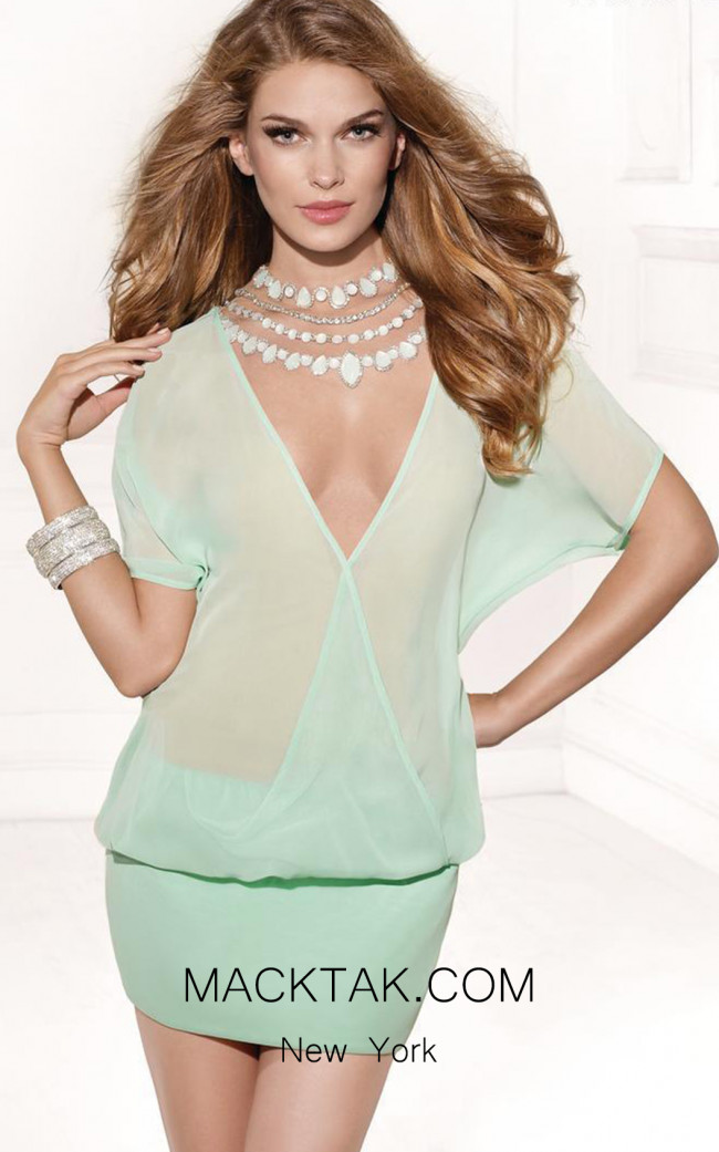 Tarik Ediz 90383 Light Green Front Dress