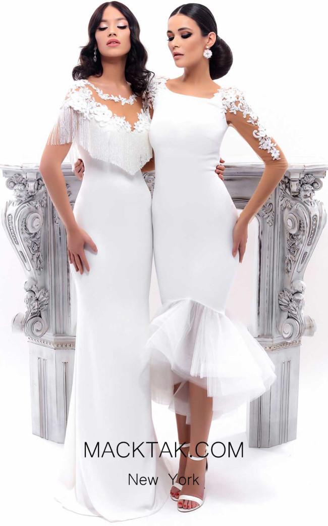 Tarik Ediz 93344 Ivory Front Dress