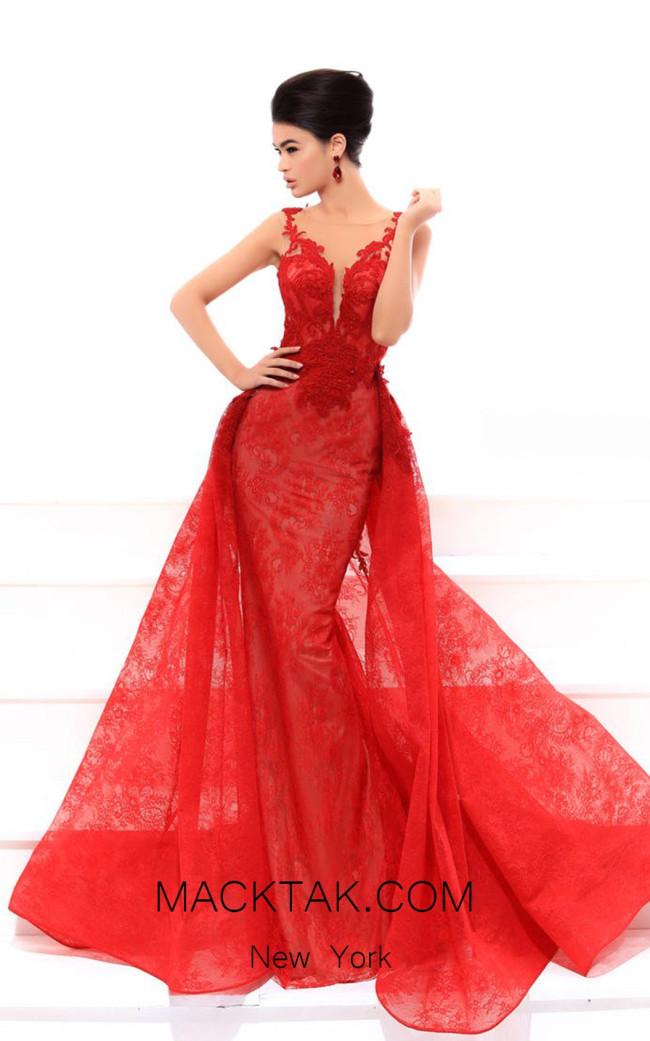 Tarik Ediz 93439 Red Front Evening Dress